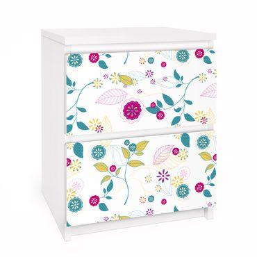 Möbelfolie für IKEA Malm Kommode - Selbstklebefolie Blumencocktail