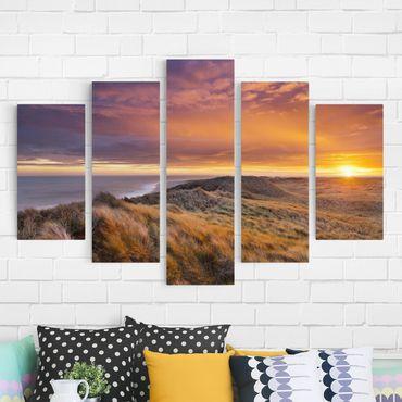 Leinwandbild 5-teilig - Sonnenaufgang am Strand auf Sylt