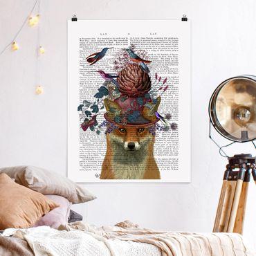 Poster - Vogelfänger - Fuchs mit Artischocke - Hochformat 3:4