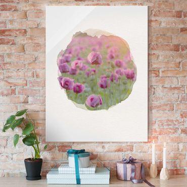 Glasbild - Wasserfarben - Violette Schlafmohn Blumenwiese im Frühling - Hochformat 4:3
