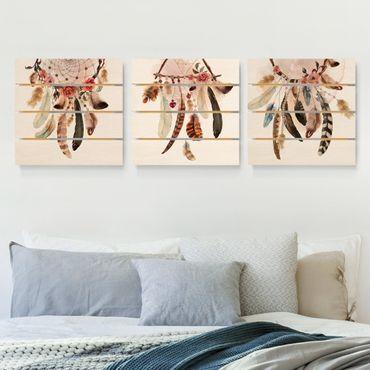 Holzbild 3-teilig - Aquarell Traumfänger mit Federn - Quadrate 1:1
