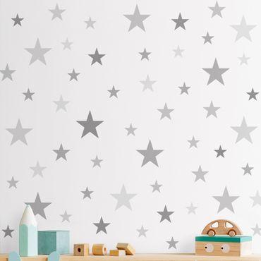 Wandtattoo - 92 Sterne Grau Set