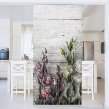 Raumteiler - Tulpen-Rose Shabby Holzoptik 250x120cm
