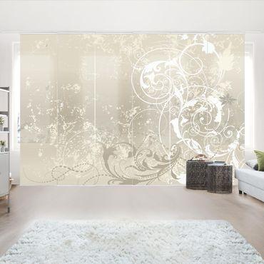 Schiebegardinen Set - Perlmutt Ornament Design - Flächenvorhänge