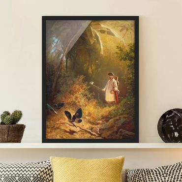Bild mit Rahmen - Carl Spitzweg - Der Schmetterlingsfänger - Hochformat 4:3