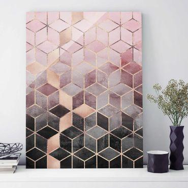 Glasbild - Rosa Grau goldene Geometrie - Hochformat 4:3