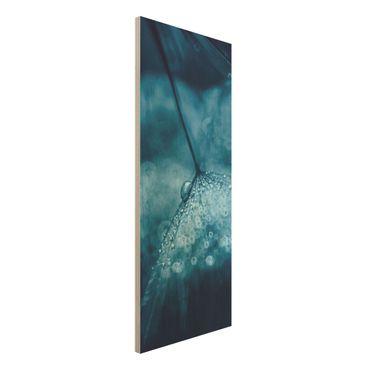 Holzbild - Blaue Pusteblume im Regen - Panel