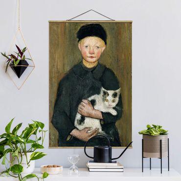 Stoffbild mit Posterleisten - Paula Modersohn-Becker - Knabe mit Katze - Hochformat 3:2