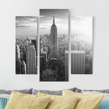 Leinwandbild 3-teilig - Manhattan Skyline - Galerie Triptychon
