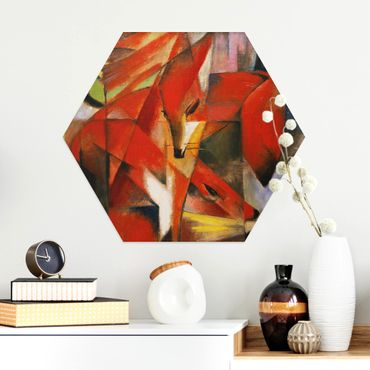 Hexagon Bild Alu-Dibond - Franz Marc - Füchse