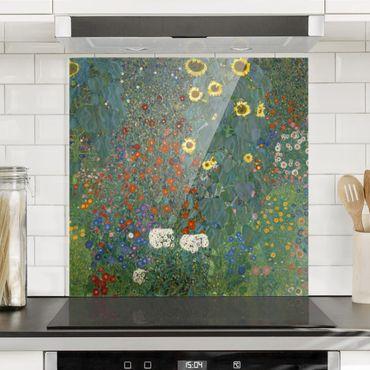 Spritzschutz Glas - Gustav Klimt - Garten Sonnenblumen - Quadrat 1:1