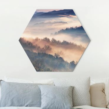 Hexagon Bild Alu-Dibond - Nebel bei Sonnenuntergang