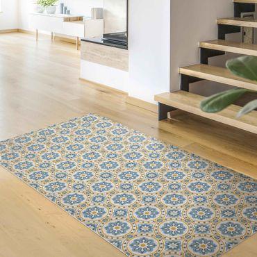 Vinyl-Teppich - Florale Fliesen blau-gelb - Hochformat 1:2
