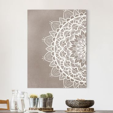 Leinwandbild - Mandala Illustration shabby weiß beige - Hochformat 4:3