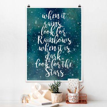 Poster - Sternenhimmel Regenbogen - Hochformat 3:4
