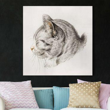 Leinwandbild - Vintage Zeichnung Katze III - Quadrat 1:1