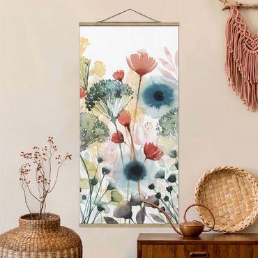 Stoffbild mit Posterleisten - Wildblumen im Sommer I - Hochformat 1:2