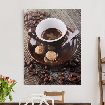 Leinwandbild - Kaffeetasse mit Kaffeebohnen - Hochformat 4:3