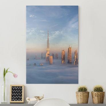 Leinwandbild - Dubai über den Wolken - Hochformat 4:3