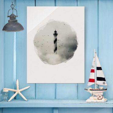 Glasbild - Wasserfarben - Leuchtturm im Nebel - Hochformat 4:3