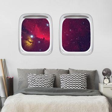 3D Wandtattoo - Doppelfenster Flugzeug Farbenfrohe Galaxie
