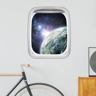3D Wandtattoo - Fenster Flugzeug Galaxy Light