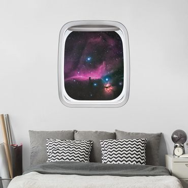3D Wandtattoo - Fenster Flugzeug Nebel des Orions
