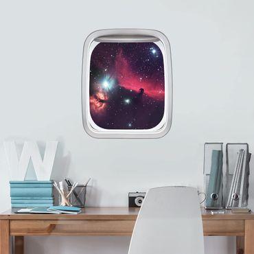 3D Wandtattoo - Fenster Flugzeug Pferd im Weltraum