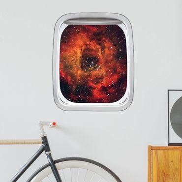 3D Wandtattoo - Fenster Flugzeug Rose im Weltraum