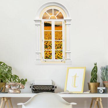 3D Wandtattoo - Fenster Mediterran Feld mit Sonnenblumen