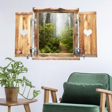 3D Wandtattoo - Fenster mit Herz Nebliger Waldpfad