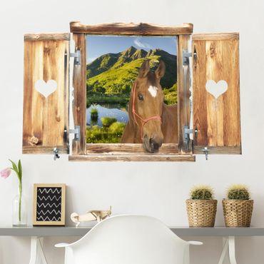 3D Wandtattoo - Fenster mit Herz und Pferd Blick ins Defereggental