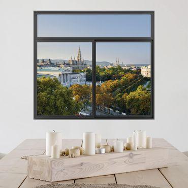 3D Wandtattoo - Fenster Schwarz Blick über Wien