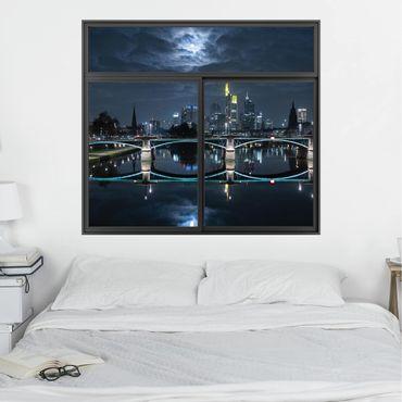 3D Wandtattoo - Fenster Schwarz Frankfurt bei Vollmond