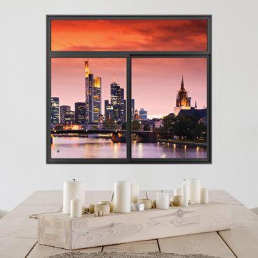 3D Wandtattoo - Fenster Schwarz Frankfurt Skyline
