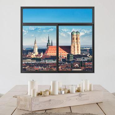 3D Wandtattoo - Fenster Schwarz München