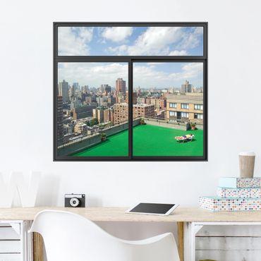 3D Wandtattoo - Fenster Schwarz Stadt Strand in New York