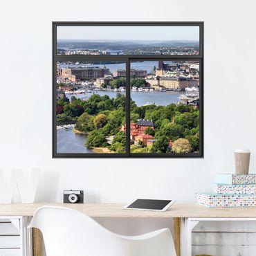 3D Wandtattoo - Fenster Schwarz Stockholm City