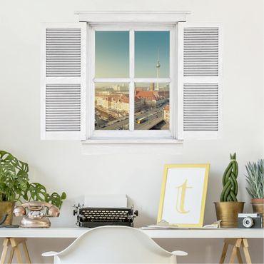3D Wandtattoo - Flügelfenster Berlin am Morgen