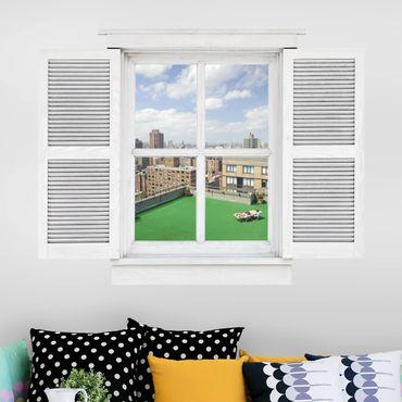 3D Wandtattoo - Flügelfenster Stadt Strand in New York