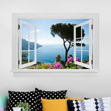 3D Wandtattoo - Offenes Fenster Ausblick vom Garten aufs Meer