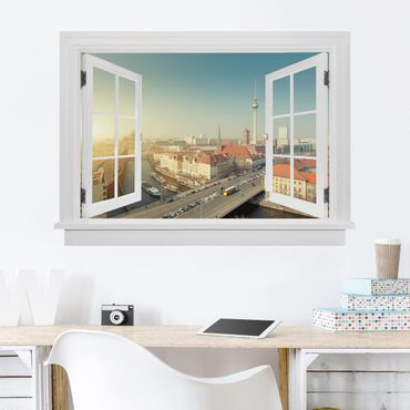 3D Wandtattoo - Offenes Fenster Berlin am Morgen