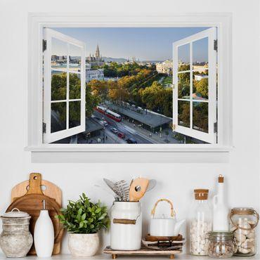 3D Wandtattoo - Offenes Fenster Blick über Wien
