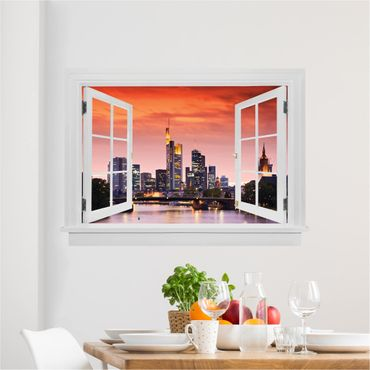 3D Wandtattoo - Offenes Fenster Frankfurt Skyline