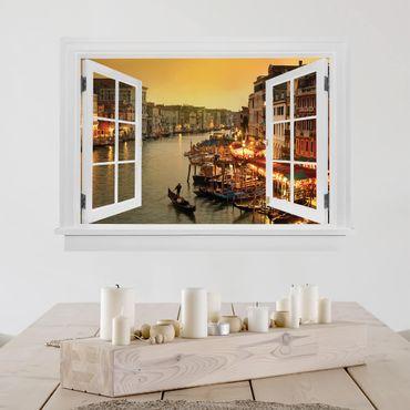 3D Wandtattoo - Offenes Fenster Großer Kanal von Venedig