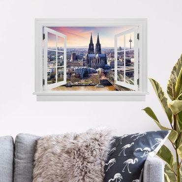 3D Wandtattoo - Offenes Fenster Köln Skyline mit Dom