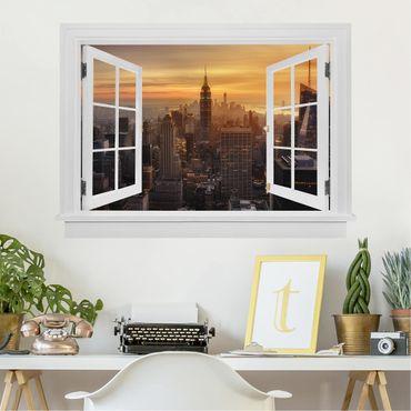 3D Wandtattoo - Offenes Fenster Manhattan Skyline Abendstimmung