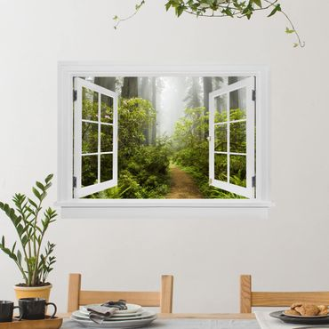 3D Wandtattoo - Offenes Fenster Nebliger Waldpfad