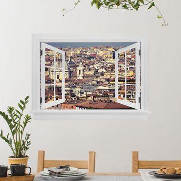 3D Wandtattoo - Offenes Fenster Rome Rooftops