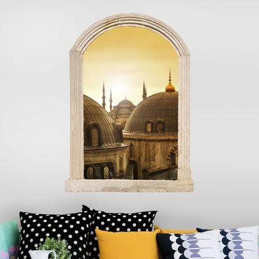 3D Wandtattoo - Steinbogen Über den Dächern von Istanbul